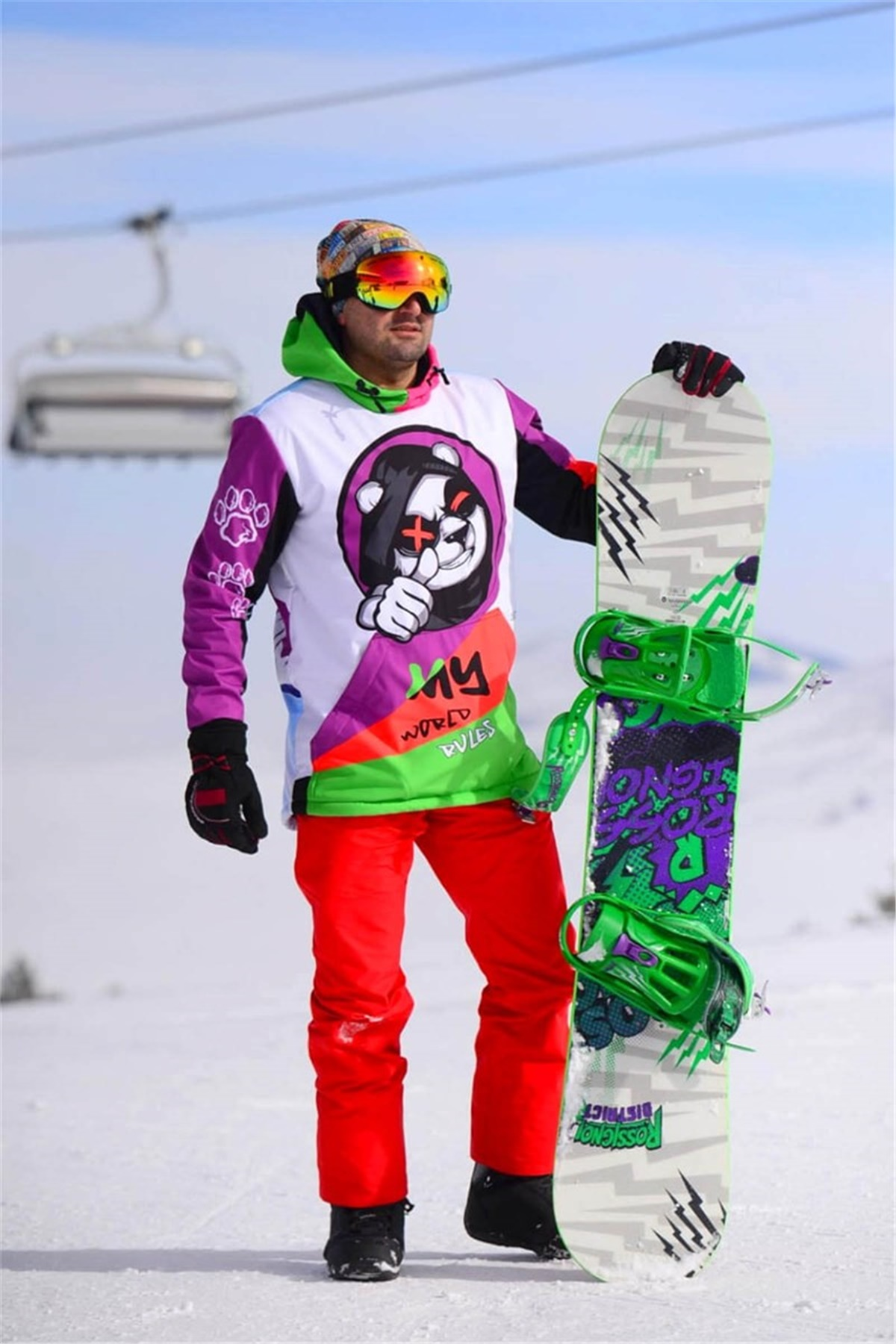 My World My Rules Snowsea Panda Snowboard ve Kayak Montu / Unisex Snowsea SS7640